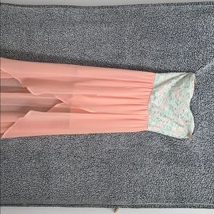 Teal and pink high low dress